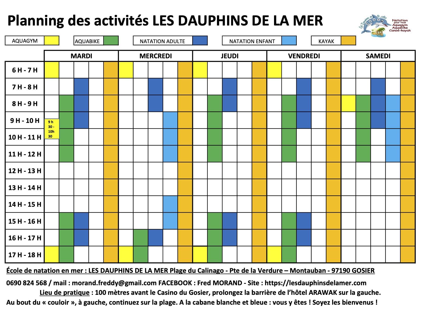PLANNING DES ACTIVITES OCTOBRE 2020 JOURS